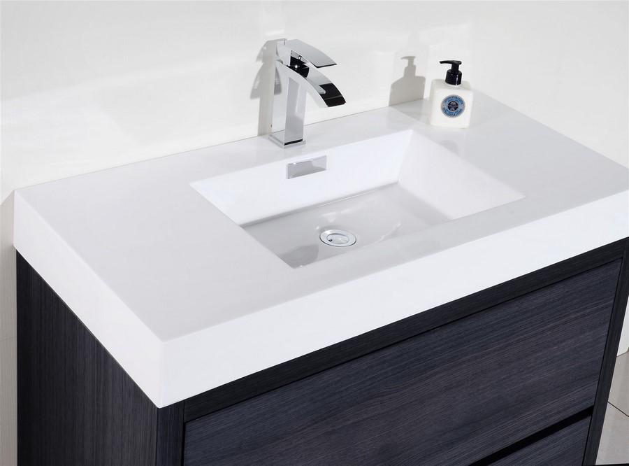 Bliss 40 Quot Gray Oak Floor Mount Modern Bathroom Vanity