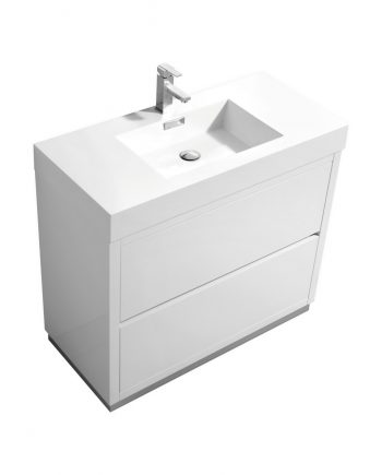 "Bliss 40"" High Gloss White Free Standing Modern Bathroom Vanity"
