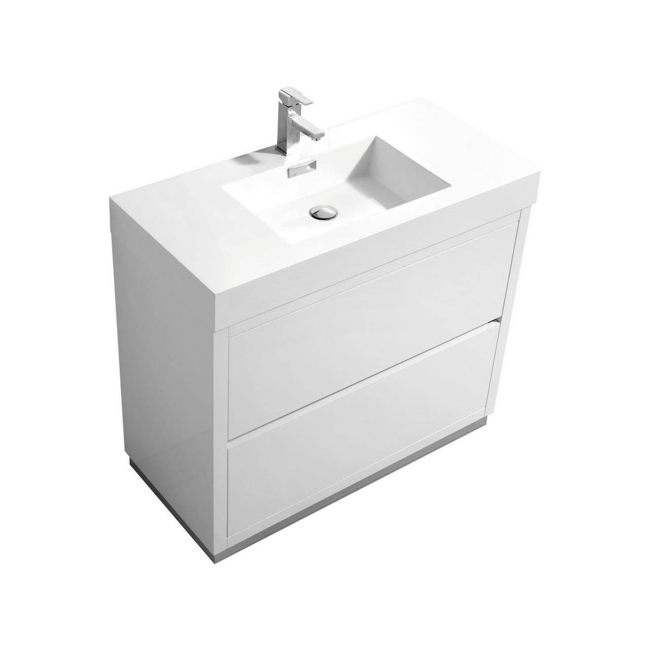 Bliss 40 High Gloss White Floor Mount Modern Bathroom Vanity