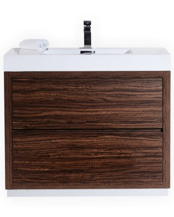 BLISS 40″ WALNUT FREE STANDING MODERN BATHROOM VANITY