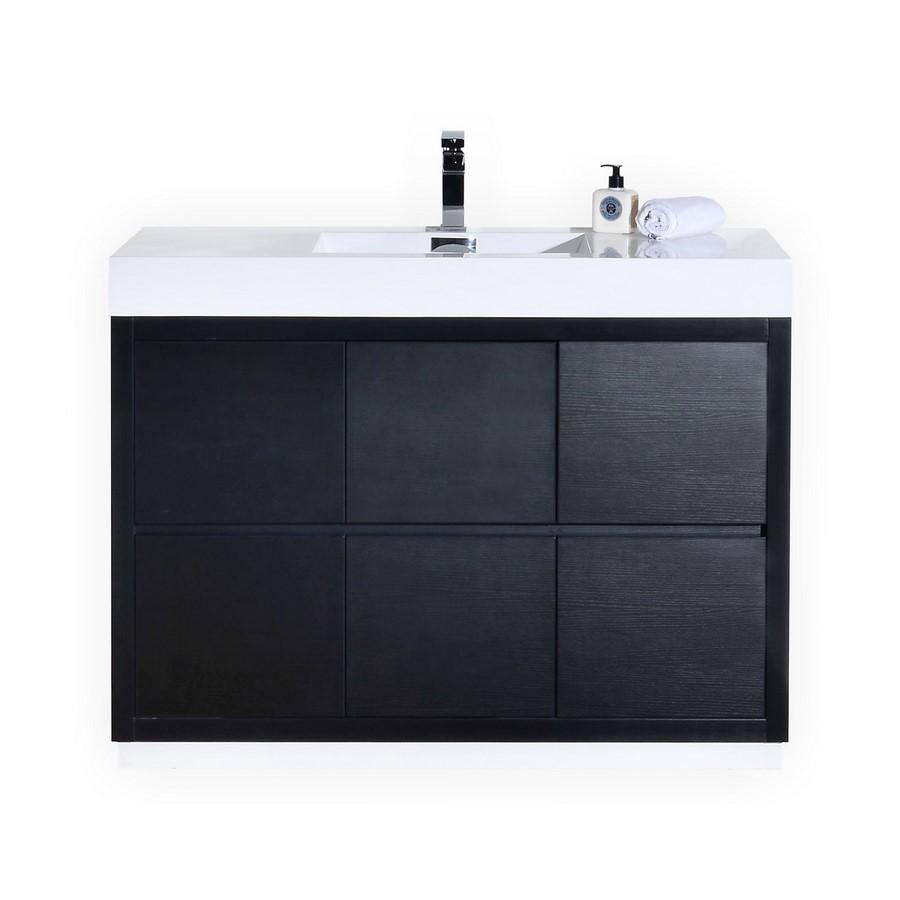 Bliss 48 Black Floor Mount Modern Bathroom Vanity