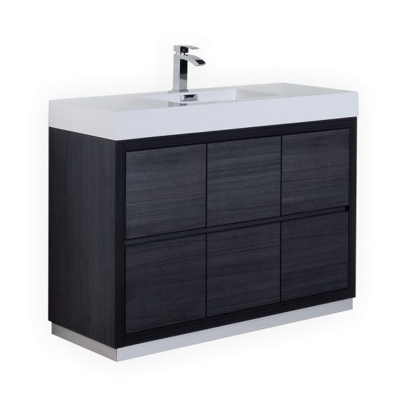 BLISS 48″ GRAY OAK FREE STANDING MODERN BATHROOM VANITY