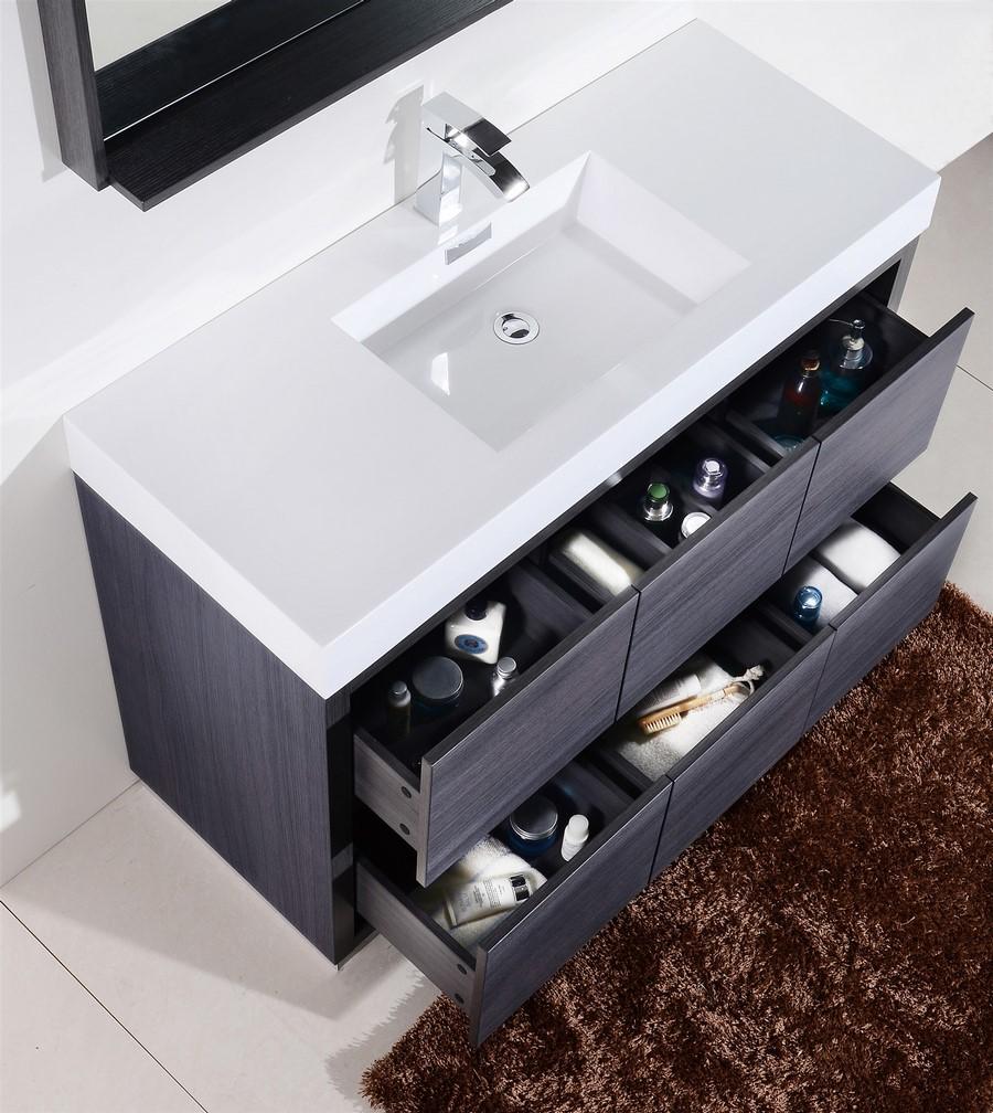 Bliss 48 Quot Gray Oak Floor Mount Modern Bathroom Vanity