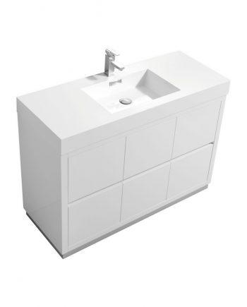 """Bliss 48"""" High Gloss White Free Standing Modern Bathroom Vanity"""