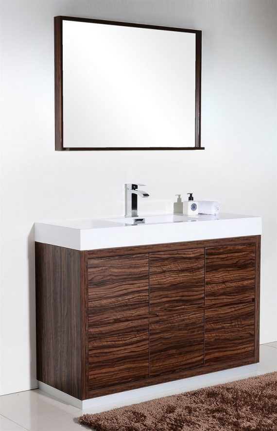 "Bliss 48"" Walnut Floor Mount Modern Bathroom Vanity"