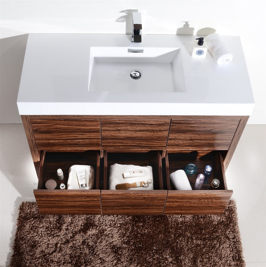 Bliss 48 Walnut Floor Mount Modern Bathroom Vanity