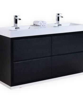 BLISS 60″ DOUBLE SINK BLACK FREE STANDING MODERN BATHROOM VANITY