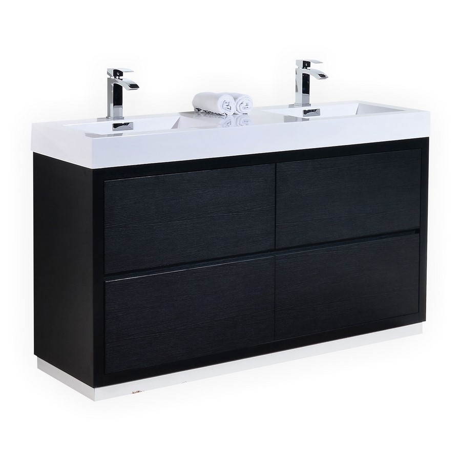 Bliss 60 black double sink floor mount bathroom vanity for Freestanding 24 inch bathroom vanity