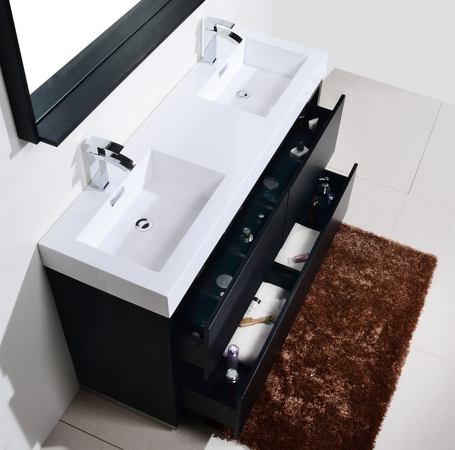 Bliss 60 Quot Black Double Sink Floor Mount Bathroom Vanity