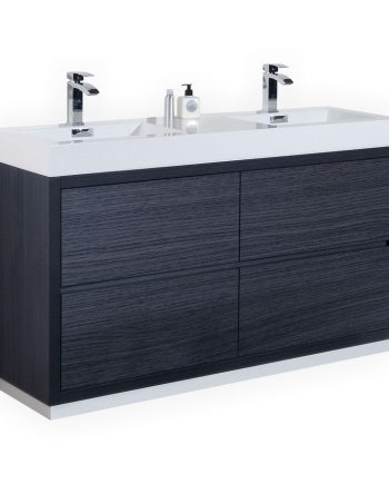 BLISS 60″ DOUBLE SINK GRAY OAK FREE STANDING MODERN BATHROOM VANITY