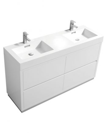 "Bliss 60"" Double Sink High Gloss White Free Standing Modern Bathroom Vanity"