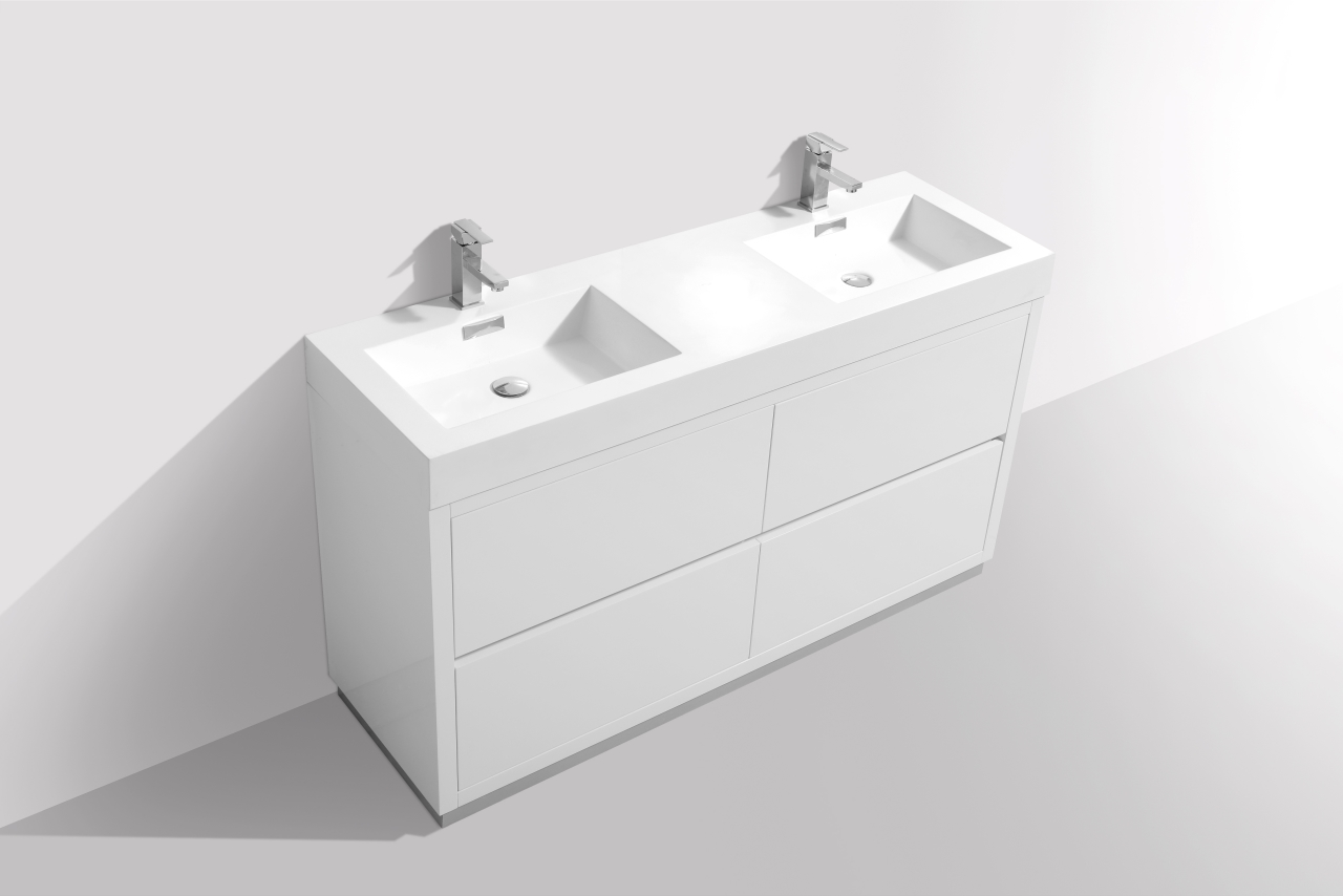 Bliss 60 Quot High Gloss White Double Sink Floor Mount
