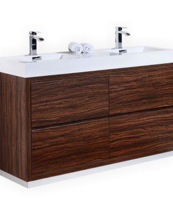 BLISS 60″ DOUBLE SINK WALNUT FREE STANDING MODERN BATHROOM VANITY