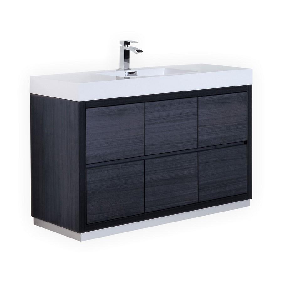 Bliss 60 Quot Gray Oak Single Sink Floor Mount Vanity