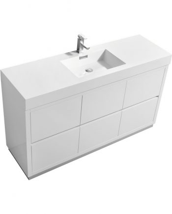 "Bliss 60"" Single Sink High Gloss White Free Standing Modern Bathroom Vanity"