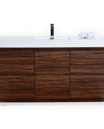 BLISS 60″ SINGLE SINK WALNUT FREE STANDING MODERN BATHROOM VANITY