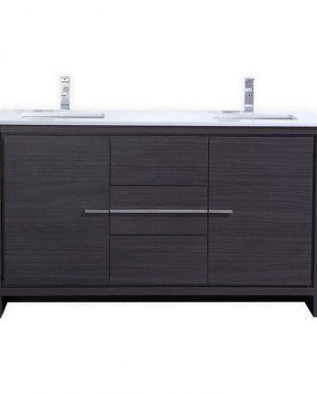 KubeBath Dolce 60″ Double Sink Gray Oak Modern Bathroom Vanity with White Quartz Counter-Top