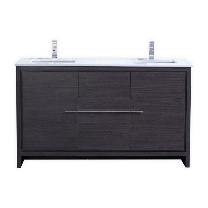 Kubebath Dolce 60 Double Sink Gray Oak Modern Bathroom Vanity