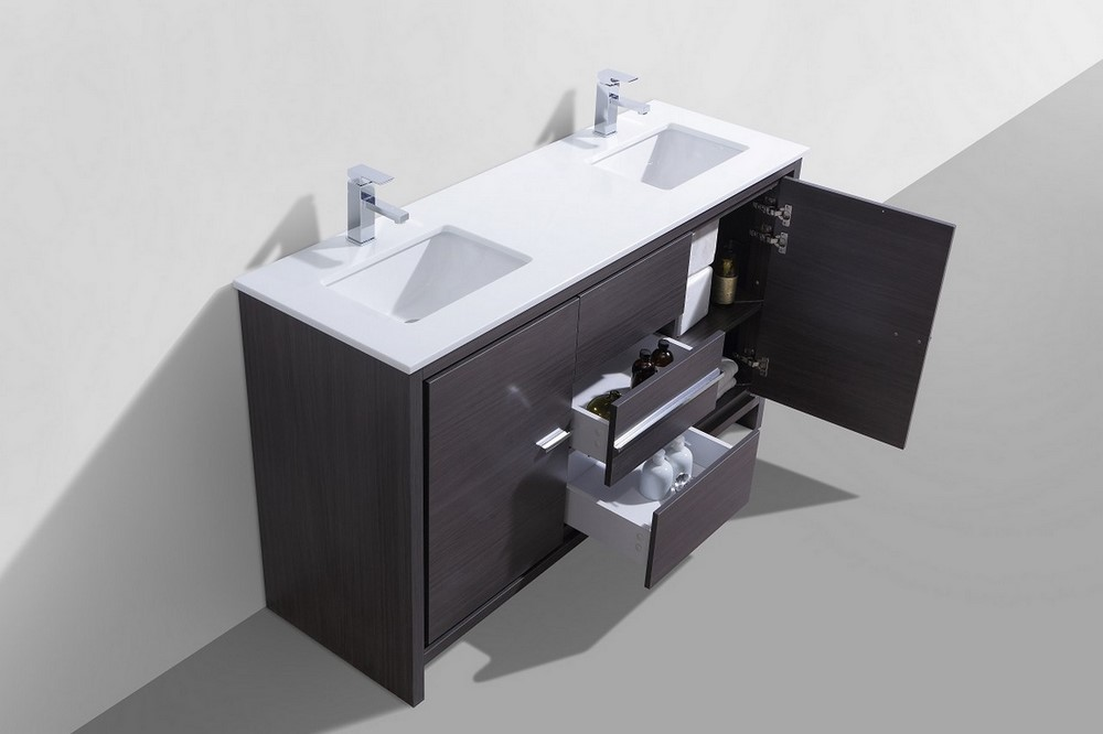 KubeBath Dolce 60″ Double Sink Gray Oak Modern Bathroom Vanity