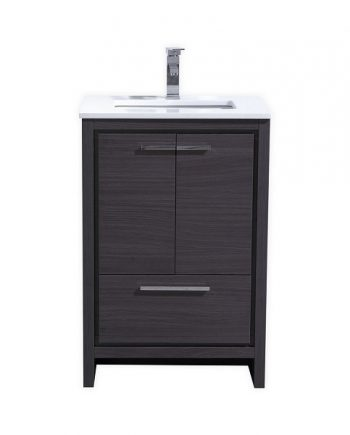 KubeBath Dolce 24″ Gray Oak Modern Bathroom Vanity with White Quartz Counter-Top