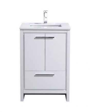 KubeBath Dolce 24″ High Gloss White Modern Bathroom Vanity with White Quartz Counter-Top