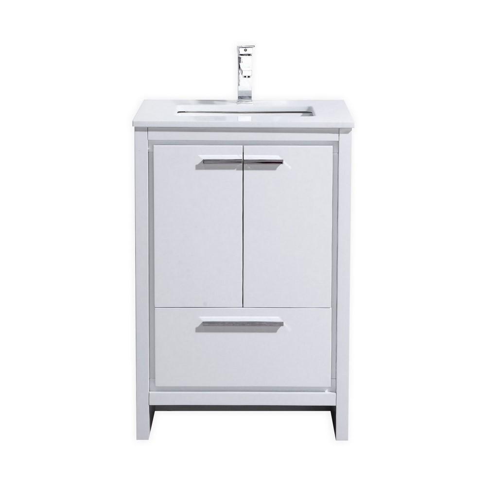 White Modern Bathroom Vanities: KubeBath Dolce 24″ High Gloss White Modern Bathroom Vanity