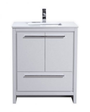 KubeBath Dolce 30″ High Gloss White Modern Bathroom Vanity with White Quartz Counter-Top