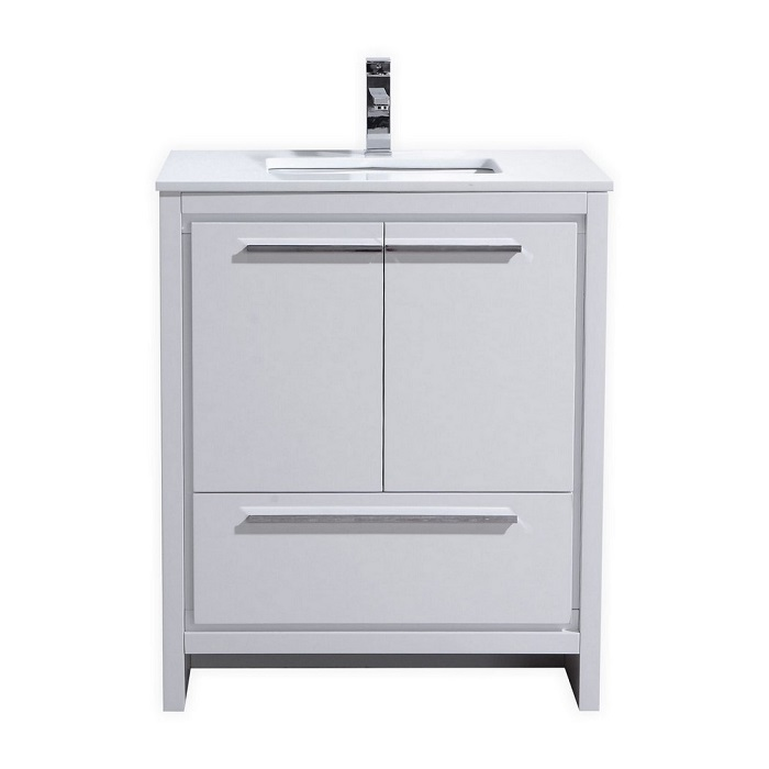 Kubebath Dolce 30 High Gloss White Bathroom Vanity