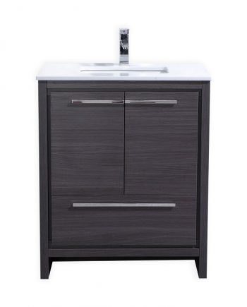 KubeBath Dolce 30″ Gray Oak Modern Bathroom Vanity with White Quartz Counter-Top