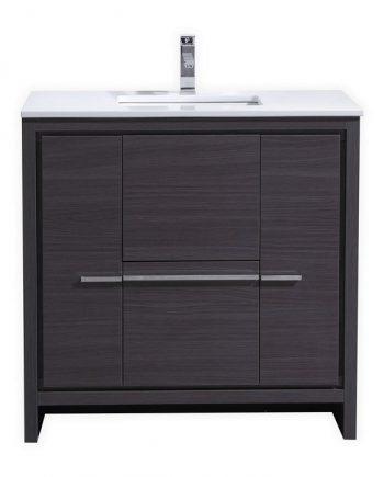 KubeBath Dolce 36″ Gray Oak Modern Bathroom Vanity with White Quartz Counter-Top