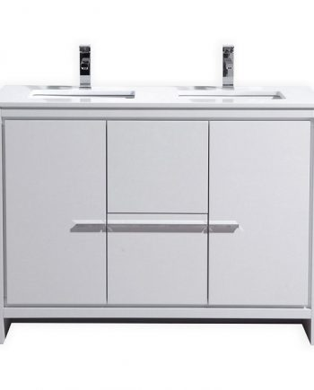 KubeBath Dolce 48″ Double Sink High Gloss White Modern Bathroom Vanity with White Quartz Counter-Top