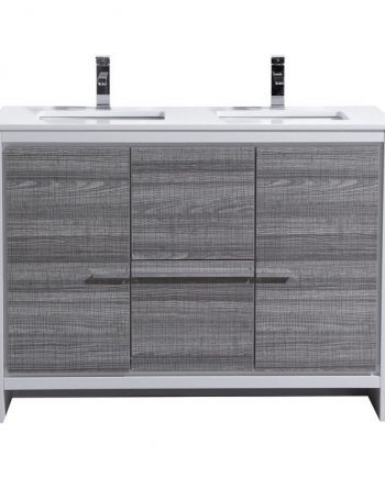 KubeBath Dolce 48″ Double Sink Ash Gray Modern Bathroom Vanity with White Quartz Counter-Top
