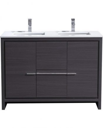 KubeBath Dolce 48″ Double Sink Gray Oak Modern Bathroom Vanity with White Quartz Counter-Top