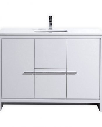 KubeBath Dolce 48″ High Gloss White Modern Bathroom Vanity with White Quartz Counter-Top