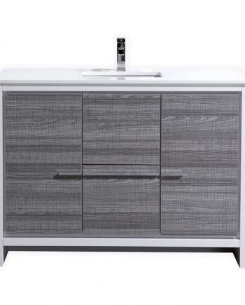 KubeBath Dolce 48″ Ash Gray Modern Bathroom Vanity with White Quartz Counter-Top