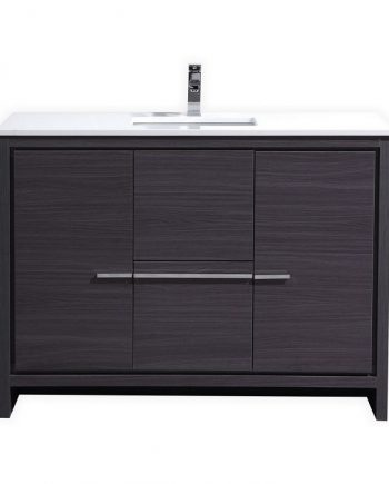 KubeBath Dolce 48″ Gray Oak Modern Bathroom Vanity with White Quartz Counter-Top