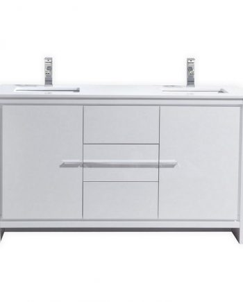 KubeBath Dolce 60″ Double Sink High Gloss White Modern Bathroom Vanity with White Quartz Counter-Top
