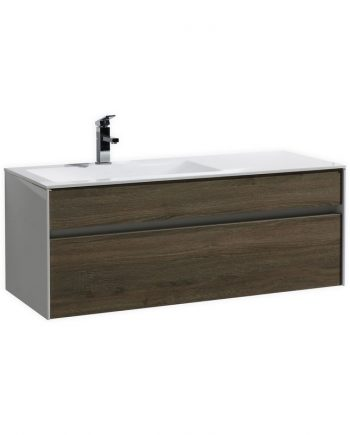 "Fitto 48"" Havana Oak Wall Mount Modern Bathroom Vanity"