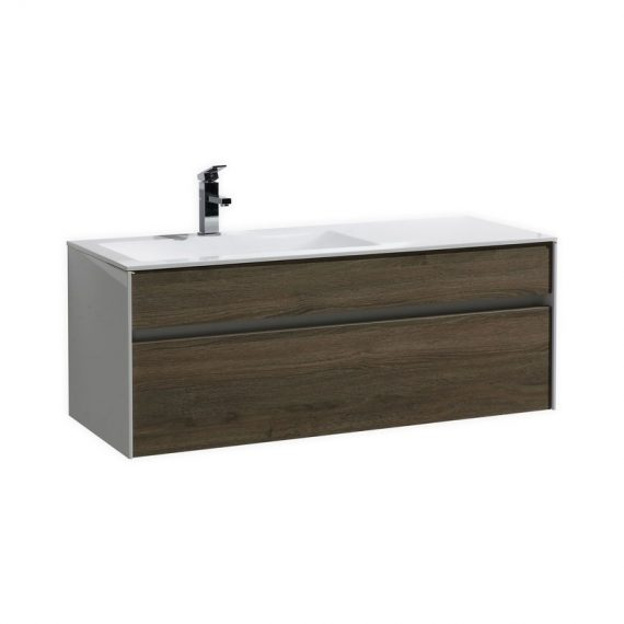 "Fitto 48"" Havana Oak Wall Mount Modern Bathroom Vanity"