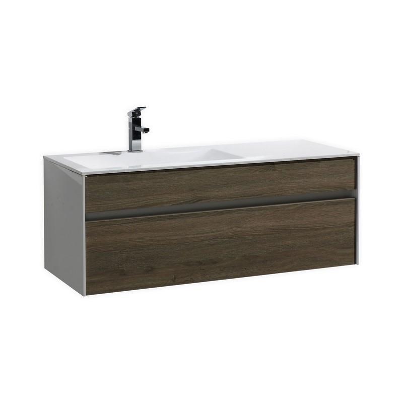 Fitto 48 Havana Oak Wall Mount Modern Bathroom Vanity