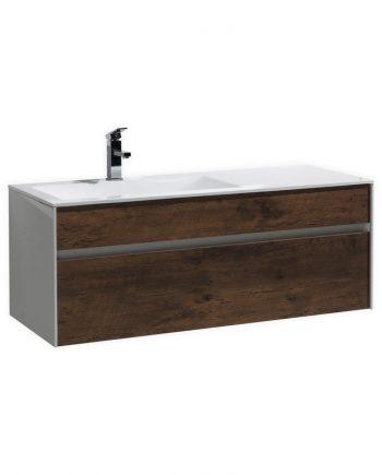 "Fitto 48"" Rose Wood Wall Mount Modern Bathroom Vanity"