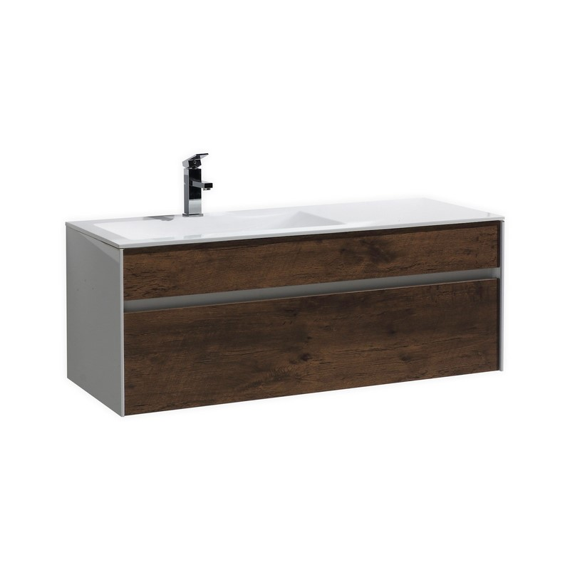 Fitto 48 Quot Rose Wood Wall Mount Modern Bathroom Vanity