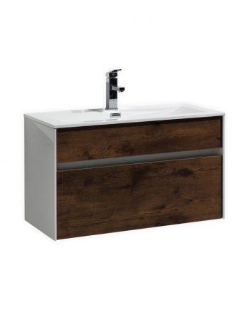 "Fitto 32"" Rose Wood Wall Mount Modern Bathroom Vanity"