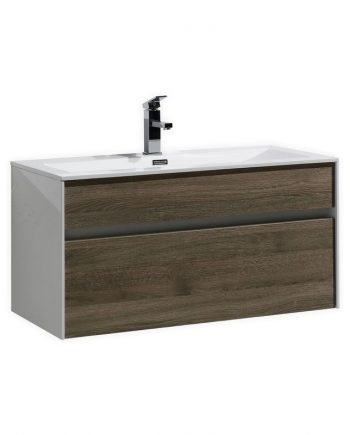 "Fitto 36"" Havana Oak Wall Mount Modern Bathroom Vanity"