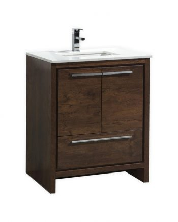 KUBEBATH DOLCE 30″ ROSE WOOD MODERN BATHROOM VANITY WITH WHITE QUARTZ COUNTER-TOP