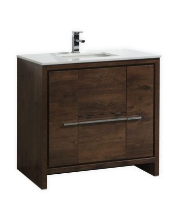 KUBEBATH DOLCE 36″ ROSE WOOD MODERN BATHROOM VANITY WITH WHITE QUARTZ COUNTER-TOP