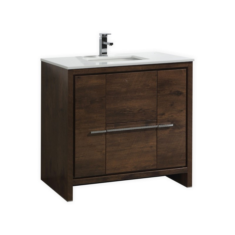 Kubebath Dolce 36 Rose Wood Modern Bathroom Vanity