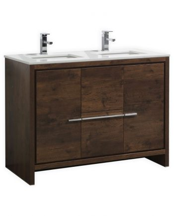 KUBEBATH DOLCE 48″ DOUBLE SINK ROSE WOOD MODERN BATHROOM VANITY WITH WHITE QUARTZ COUNTER-TOP