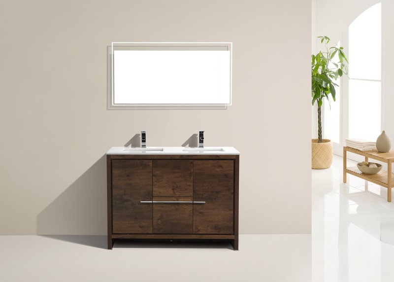 Kubebath Dolce 48 Double Sink Rose Wood Modern Bathroom
