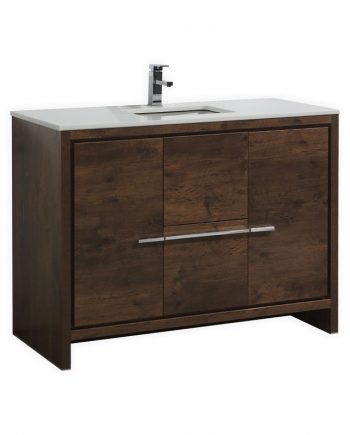 KUBEBATH DOLCE 48″ ROSE WOOD MODERN BATHROOM VANITY WITH WHITE QUARTZ COUNTER-TOP
